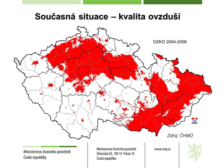 Současná situace – kvalita ovzduší Zdroj: ČHMÚ
