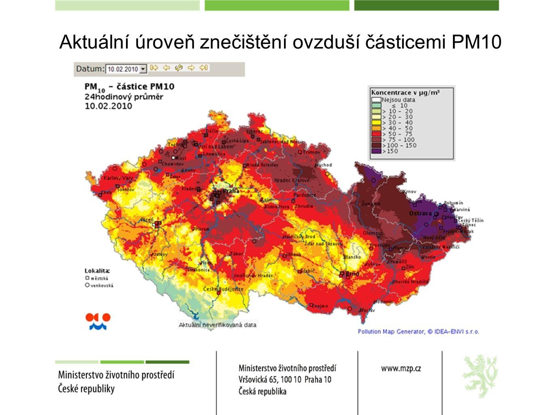 Aktuální úroveň znečištění ovzduší částicemi PM10