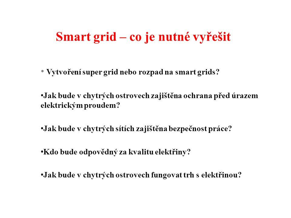 Smart grid – co je nutné vyřešit Vytvoření super grid nebo rozpad na smart grids.