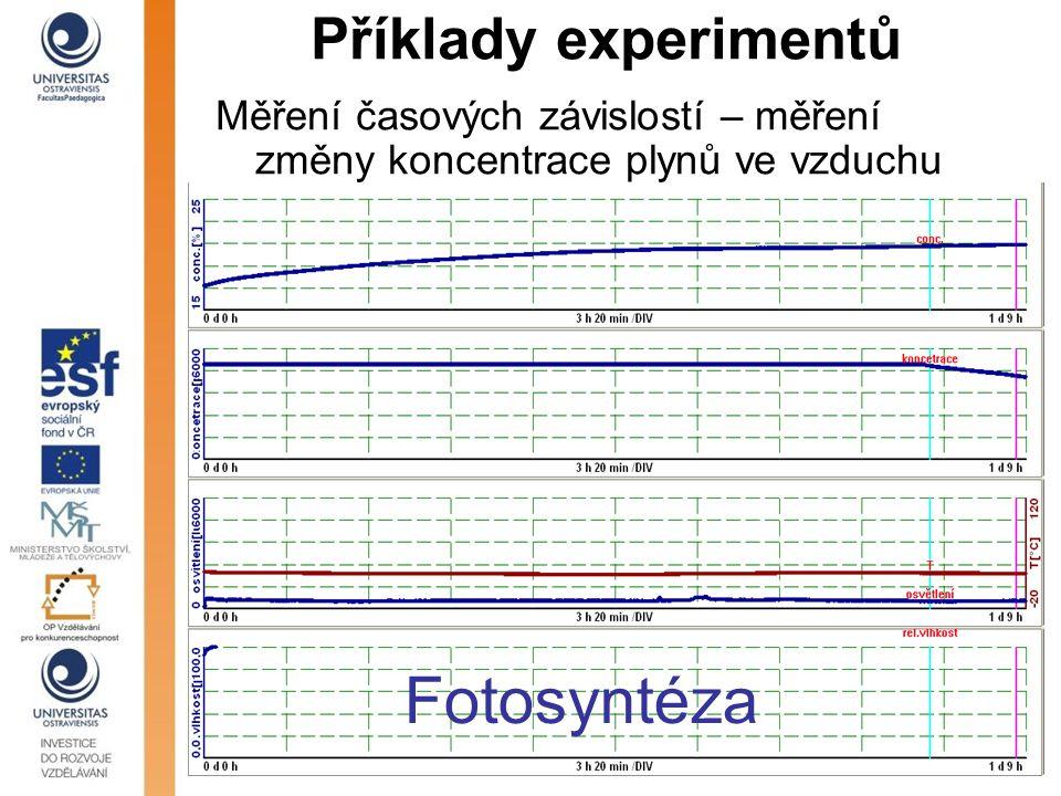 Příklady experimentů Měření časových závislostí – měření změny koncentrace plynů ve vzduchu Fotosyntéza