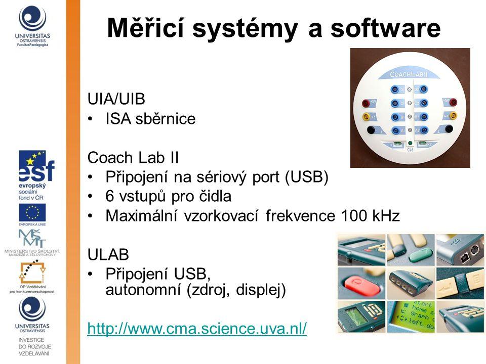Měřicí systémy a software UIA/UIB ISA sběrnice Coach Lab II Připojení na sériový port (USB) 6 vstupů pro čidla Maximální vzorkovací frekvence 100 kHz