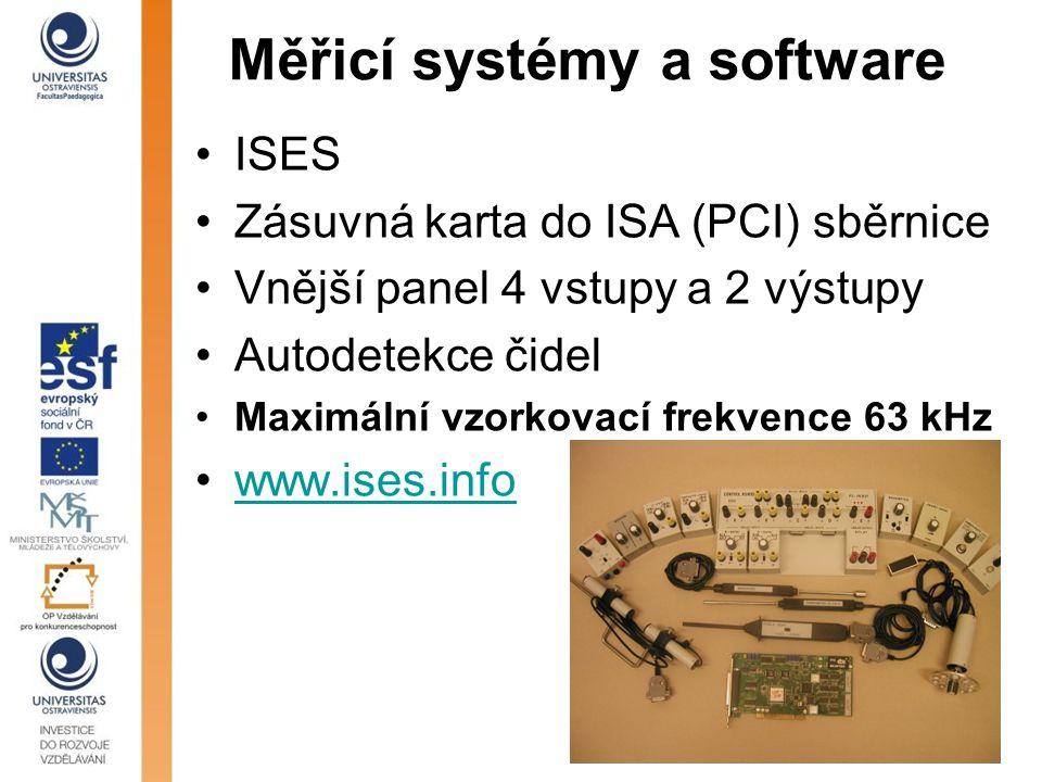 Měřicí systémy a software ISES Zásuvná karta do ISA (PCI) sběrnice Vnější panel 4 vstupy a 2 výstupy Autodetekce čidel Maximální vzorkovací frekvence