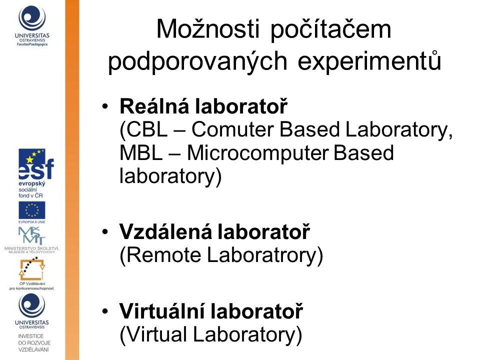 Možnosti počítačem podporovaných experimentů Reálná laboratoř (CBL – Comuter Based Laboratory, MBL – Microcomputer Based laboratory) Vzdálená laborato