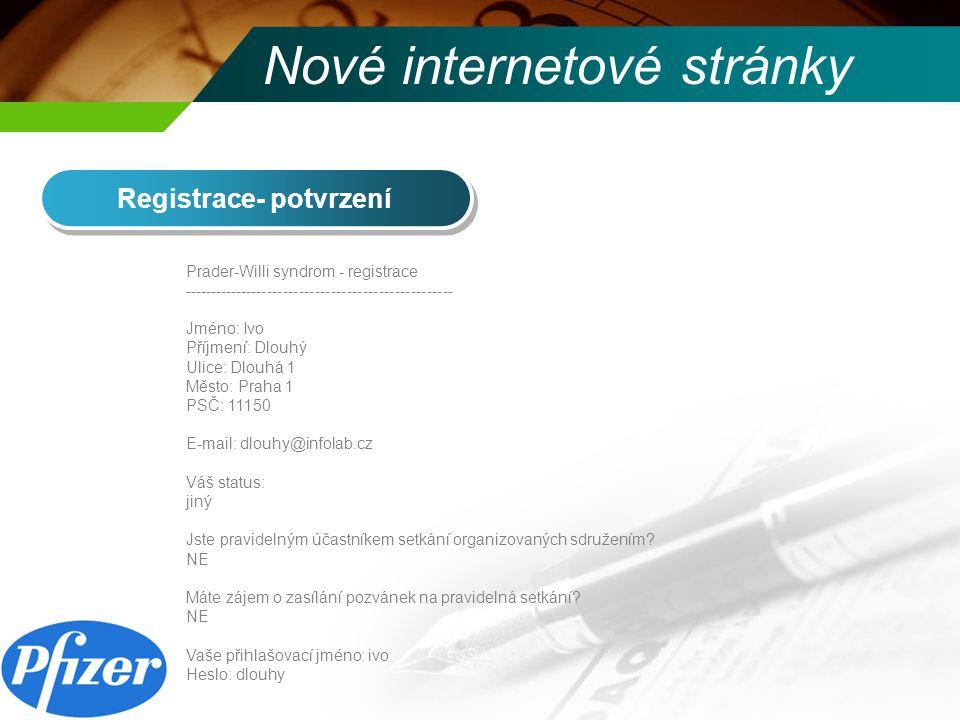 Nové internetové stránky www.prader-willi.cz - Naše setkání Jsou zde umístěny základní informace o všech proběhlých setkání + fotogalerie Prosím, pokud během setkání pořizujete fotky, neváhejte a zašlete nám je, abychom je sem mohli umístit.