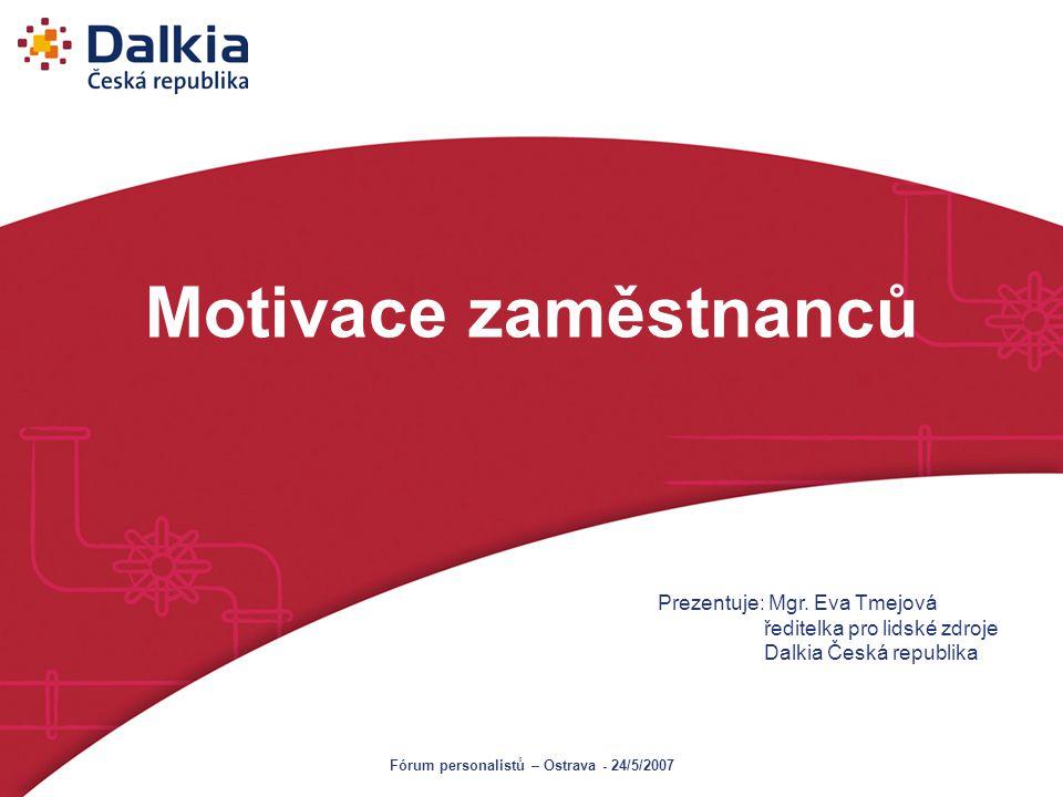 Motivace zaměstnanců Prezentuje: Mgr. Eva Tmejová ředitelka pro lidské zdroje Dalkia Česká republika Fórum personalistů – Ostrava - 24/5/2007