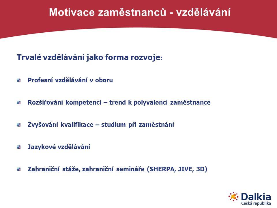 Motivace zaměstnanců - vzdělávání Trvalé vzdělávání jako forma rozvoje : Profesní vzdělávání v oboru Rozšiřování kompetencí – trend k polyvalenci zamě