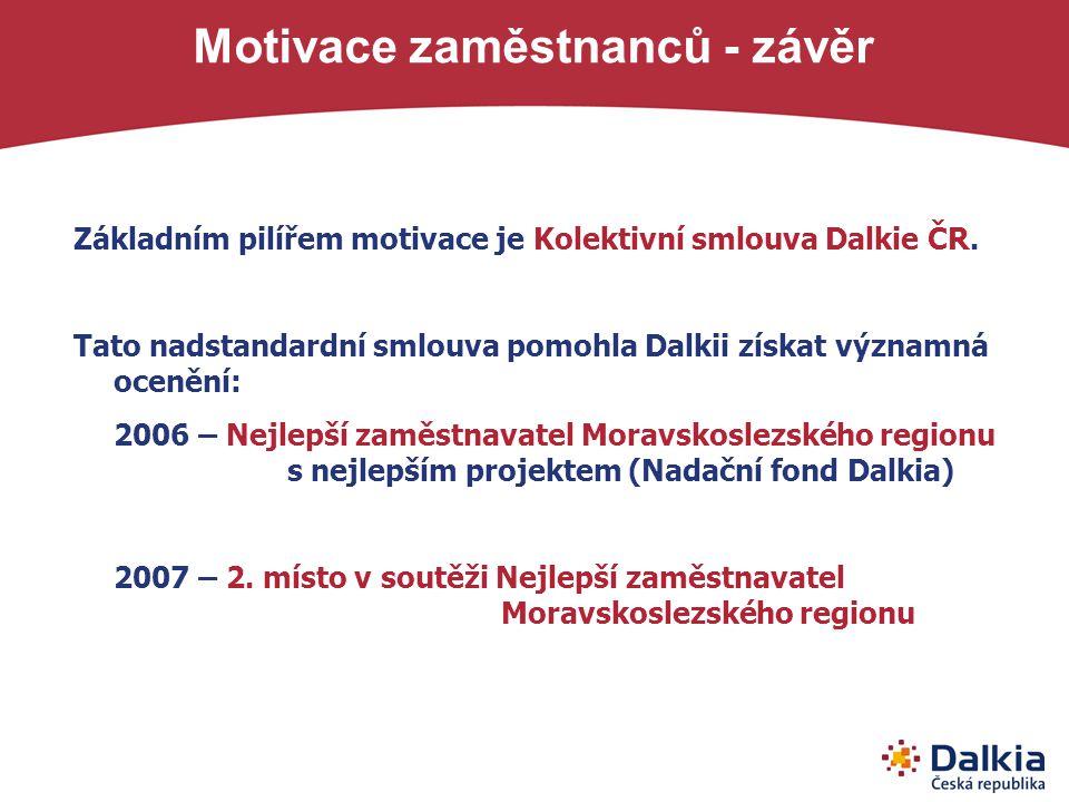 Základním pilířem motivace je Kolektivní smlouva Dalkie ČR. Tato nadstandardní smlouva pomohla Dalkii získat významná ocenění: 2006 – Nejlepší zaměstn
