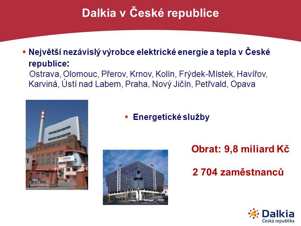 2 miliardy Kč 2 000 zaměstnanců 3,8 miliard Kč 1 450 zaměstnanců 11 miliard Kč 6 500 zaměstnanců 9 miliard Kč 2 704 zaměstnanců 50 % 90 % - energie/ énergies v České republice