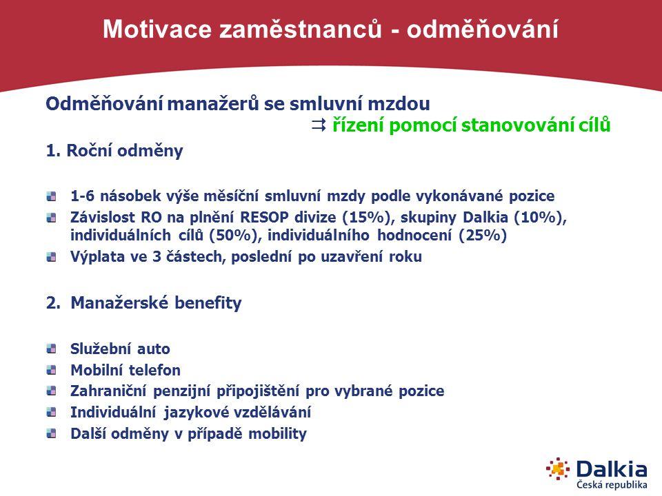 Motivace zaměstnanců - odměňování Odměňování manažerů se smluvní mzdou  řízení pomocí stanovování cílů 1. Roční odměny 1-6 násobek výše měsíční smluv