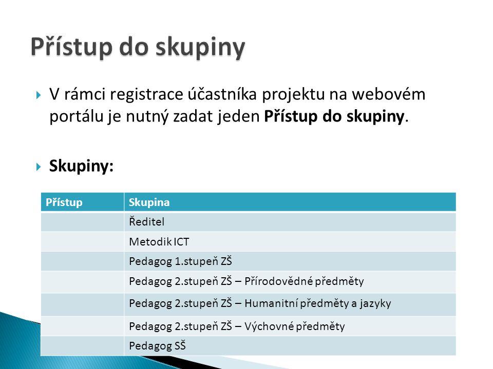  V rámci registrace účastníka projektu na webovém portálu je nutný zadat jeden Přístup do skupiny.  Skupiny: PřístupSkupina Ředitel Metodik ICT Peda
