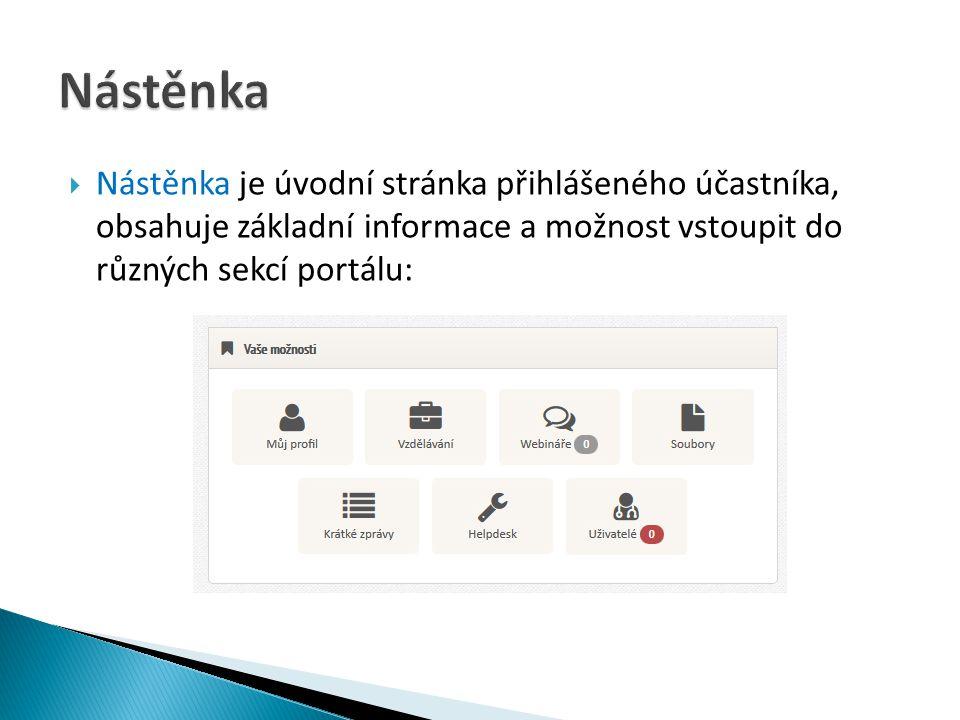  Nástěnka je úvodní stránka přihlášeného účastníka, obsahuje základní informace a možnost vstoupit do různých sekcí portálu: