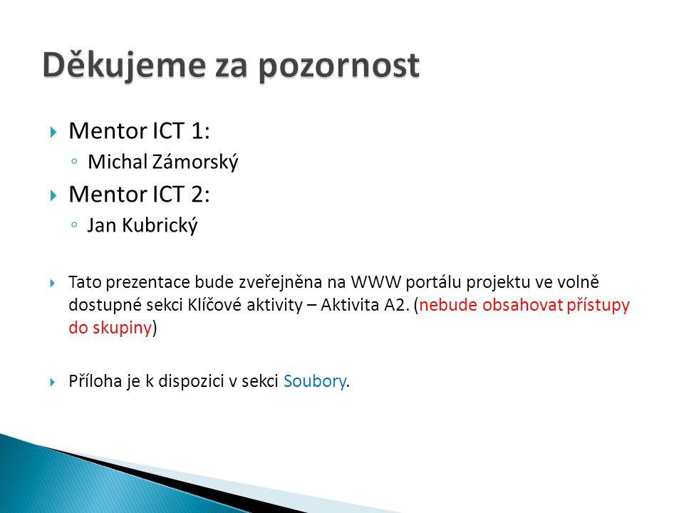  Mentor ICT 1: ◦ Michal Zámorský  Mentor ICT 2: ◦ Jan Kubrický  Tato prezentace bude zveřejněna na WWW portálu projektu ve volně dostupné sekci Klí