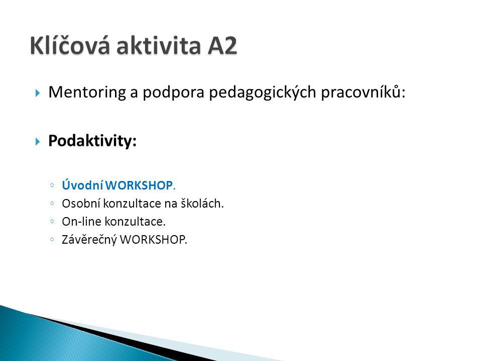 Mentoring a podpora pedagogických pracovníků:  Podaktivity: ◦ Úvodní WORKSHOP. ◦ Osobní konzultace na školách. ◦ On-line konzultace. ◦ Závěrečný WO