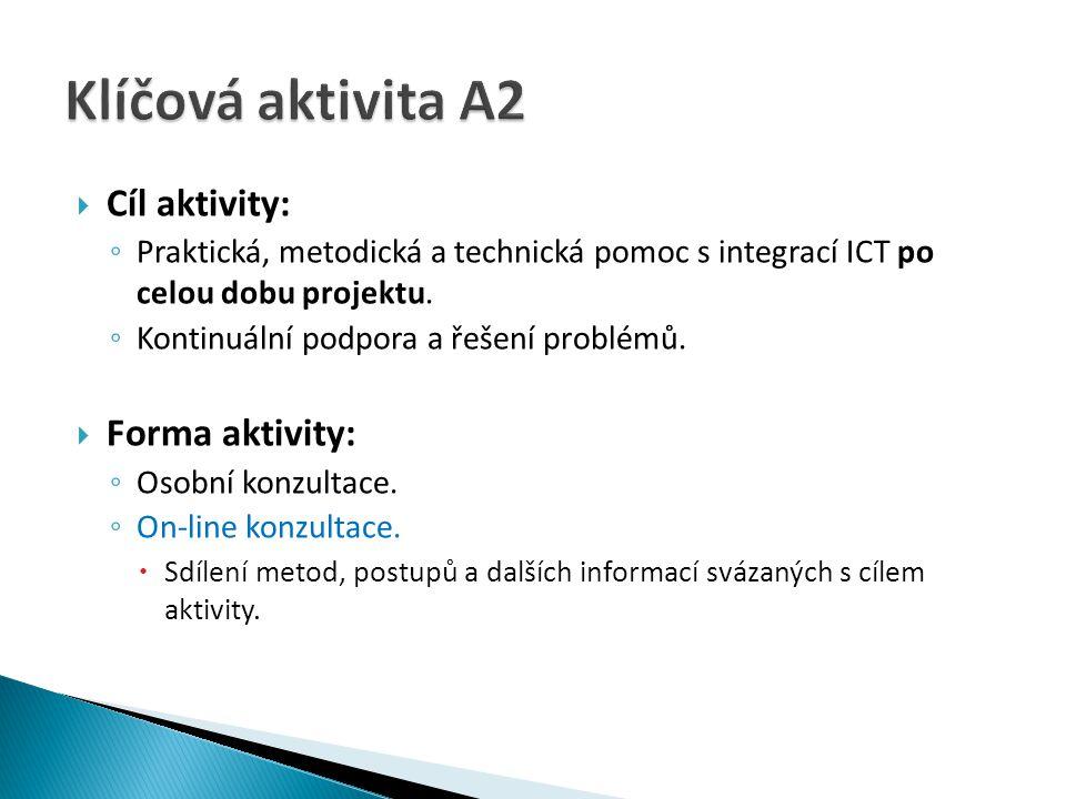  Cíl aktivity: ◦ Praktická, metodická a technická pomoc s integrací ICT po celou dobu projektu. ◦ Kontinuální podpora a řešení problémů.  Forma akti