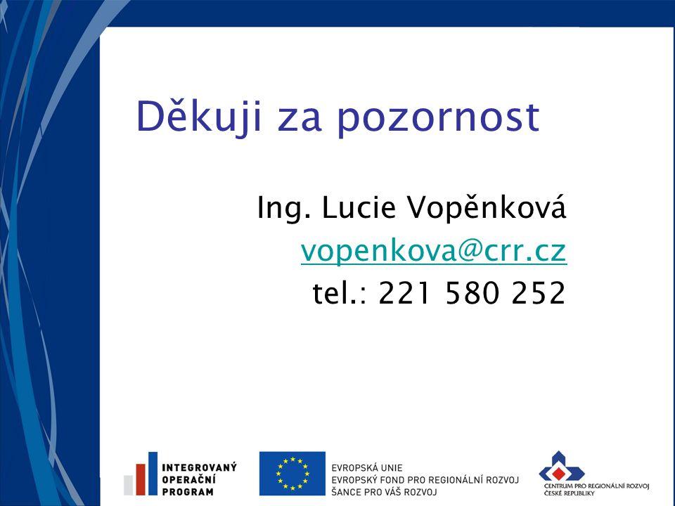 Děkuji za pozornost Ing. Lucie Vopěnková vopenkova@crr.cz tel.: 221 580 252