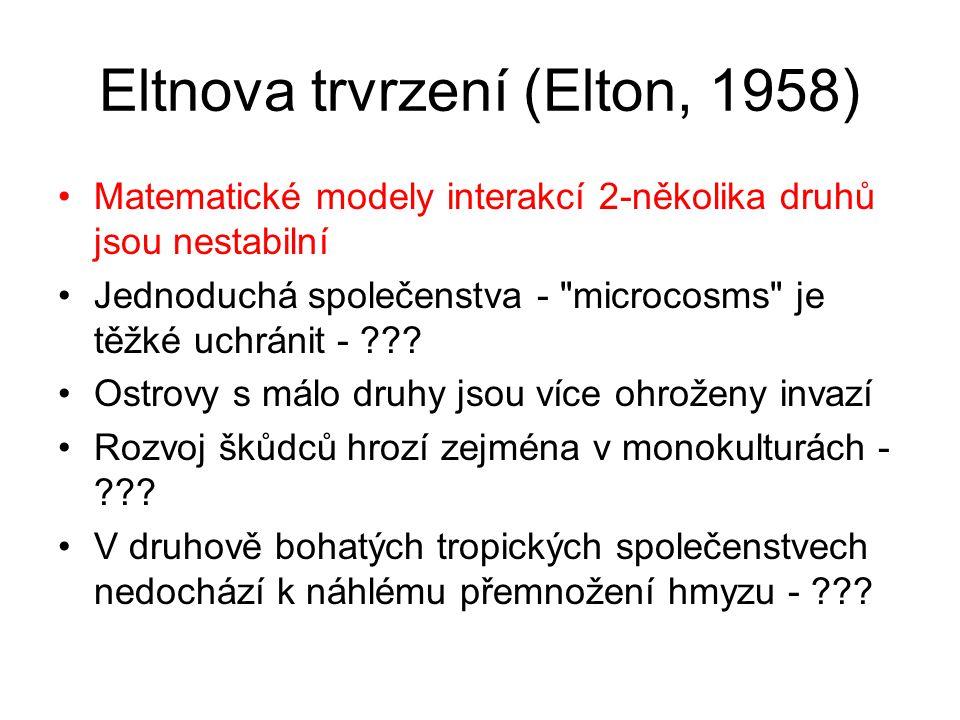 Eltnova trvrzení (Elton, 1958) Matematické modely interakcí 2-několika druhů jsou nestabilní Jednoduchá společenstva -
