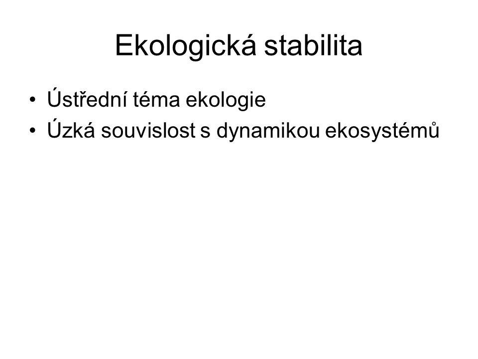 Ekologická stabilita Ústřední téma ekologie Úzká souvislost s dynamikou ekosystémů