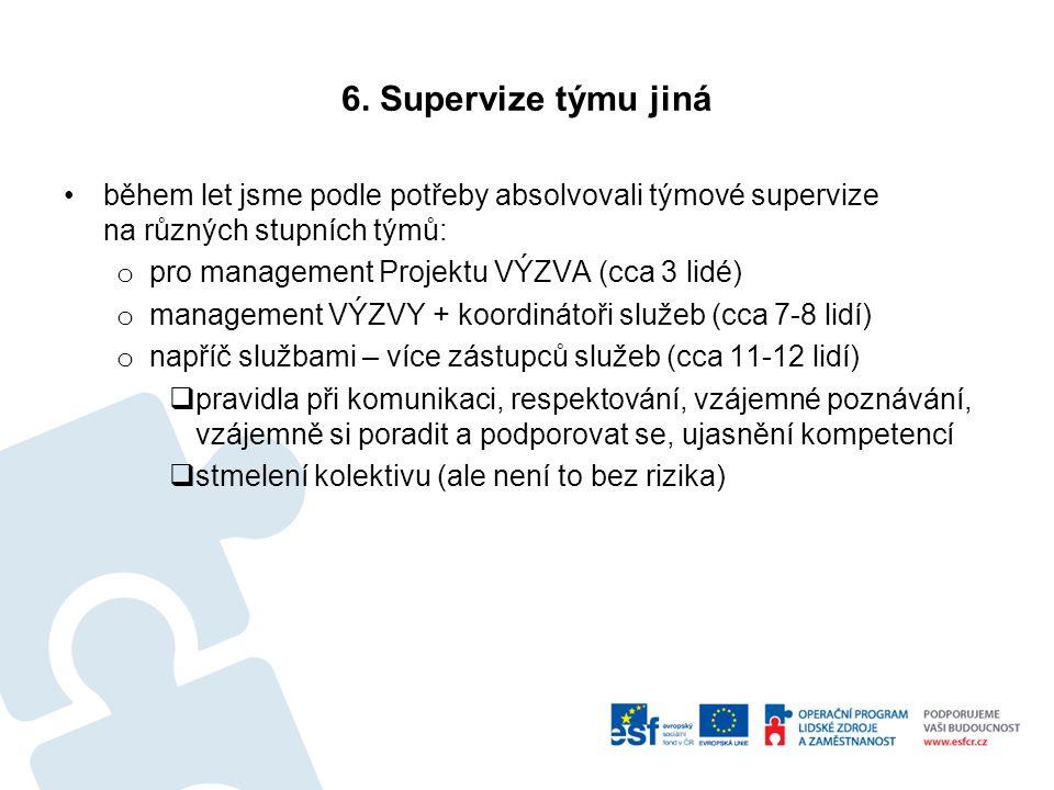6. Supervize týmu jiná během let jsme podle potřeby absolvovali týmové supervize na různých stupních týmů: o pro management Projektu VÝZVA (cca 3 lidé