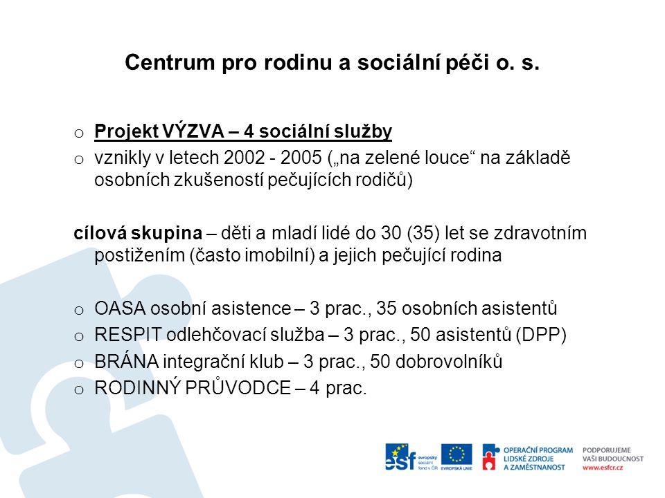 """Centrum pro rodinu a sociální péči o. s. o Projekt VÝZVA – 4 sociální služby o vznikly v letech 2002 - 2005 (""""na zelené louce"""" na základě osobních zku"""