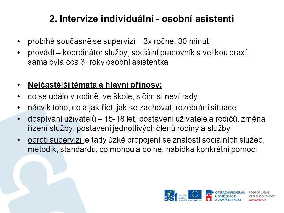 2. Intervize individuální - osobní asistenti probíhá současně se supervizí – 3x ročně, 30 minut provádí – koordinátor služby, sociální pracovník s vel