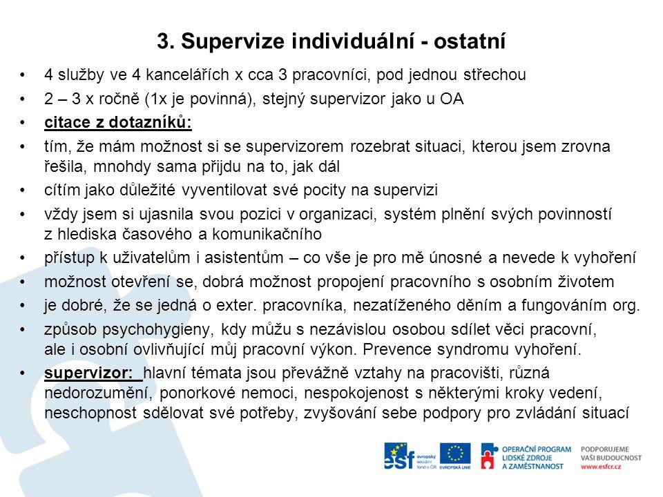 3. Supervize individuální - ostatní 4 služby ve 4 kancelářích x cca 3 pracovníci, pod jednou střechou 2 – 3 x ročně (1x je povinná), stejný supervizor