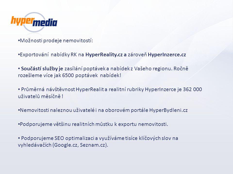 Možnosti prodeje nemovitostí: Exportování nabídky RK na HyperReality.cz a zároveň HyperInzerce.cz Součástí služby je zasílání poptávek a nabídek z Vaš