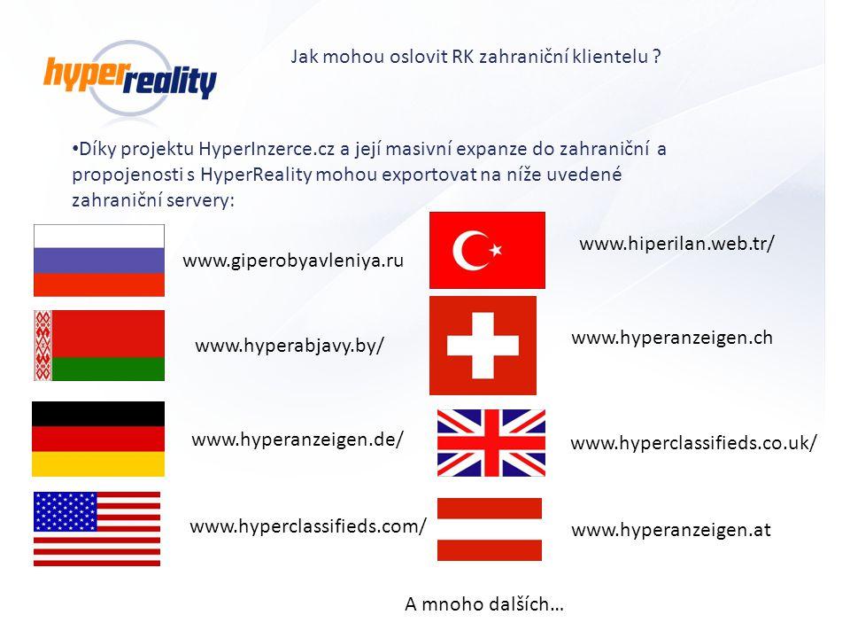 Díky projektu HyperInzerce.cz a její masivní expanze do zahraniční a propojenosti s HyperReality mohou exportovat na níže uvedené zahraniční servery: