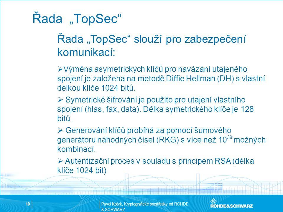 """Pavel Kotyk, Kryptografické prostředky od ROHDE & SCHWARZ 10 Řada """"TopSec"""" Řada """"TopSec"""" slouží pro zabezpečení komunikací:  Výměna asymetrických klí"""
