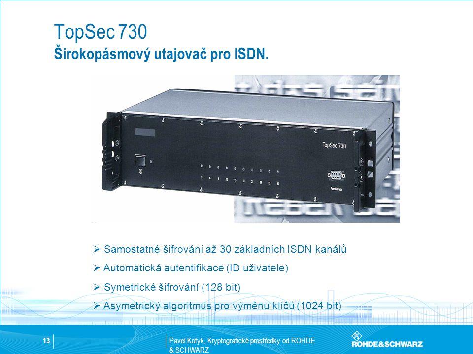 Pavel Kotyk, Kryptografické prostředky od ROHDE & SCHWARZ 13  Samostatné šifrování až 30 základních ISDN kanálů  Automatická autentifikace (ID uživa
