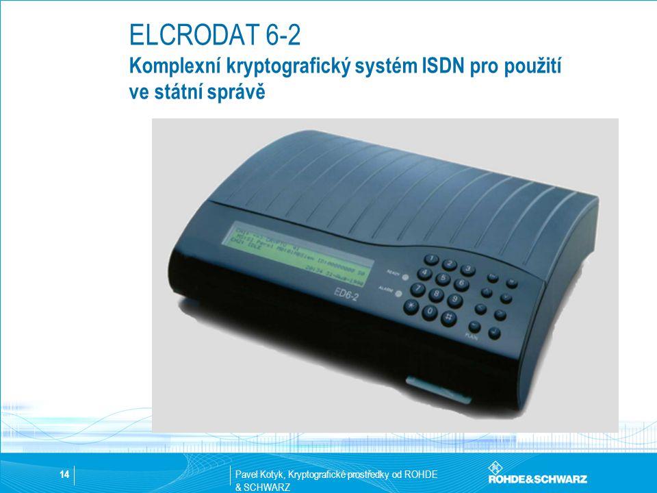 Pavel Kotyk, Kryptografické prostředky od ROHDE & SCHWARZ 14 ELCRODAT 6-2 Komplexní kryptografický systém ISDN pro použití ve státní správě