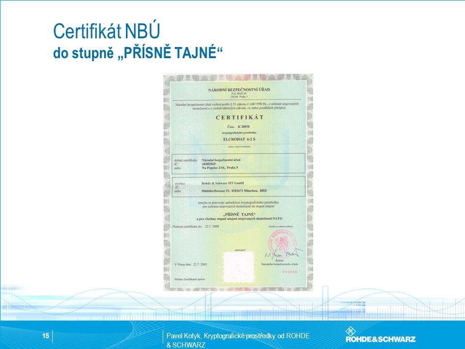 """Pavel Kotyk, Kryptografické prostředky od ROHDE & SCHWARZ 15 Certifikát NBÚ do stupně """"PŘÍSNĚ TAJNÉ"""""""