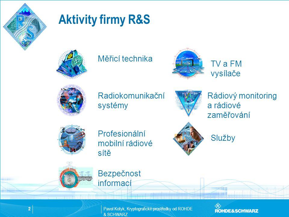 Pavel Kotyk, Kryptografické prostředky od ROHDE & SCHWARZ 2 Aktivity firmy R&S Radiokomunikační systémy Profesionální mobilní rádiové sítě Bezpečnost