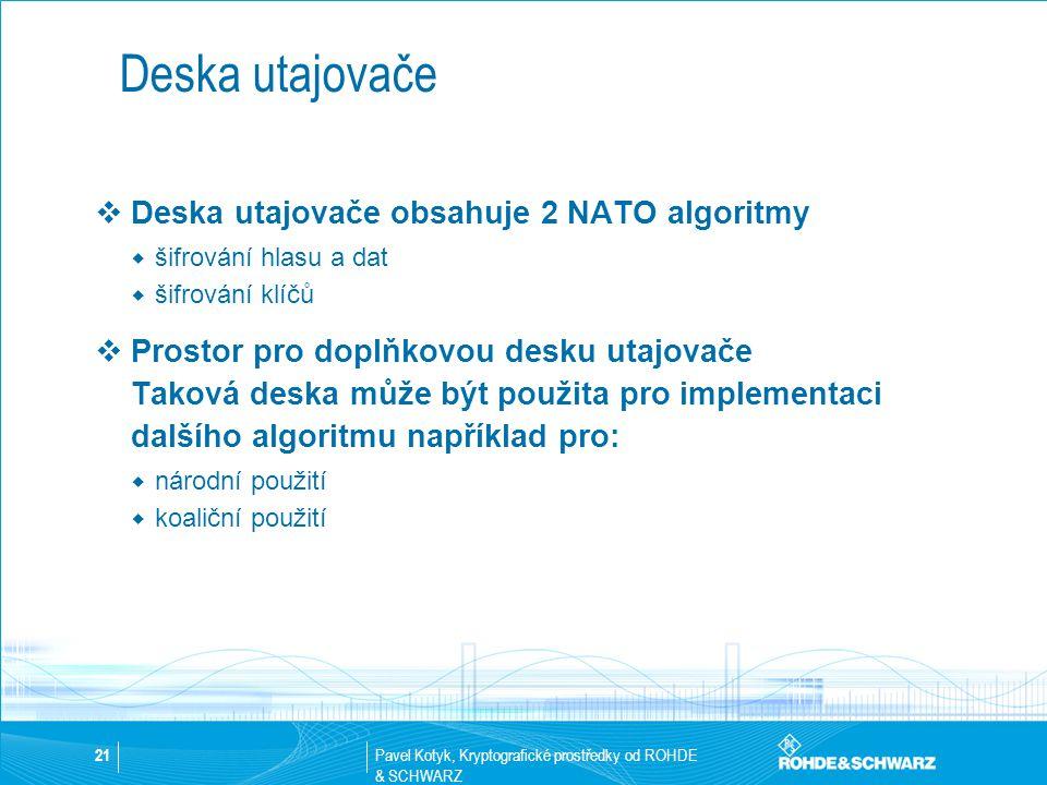 Pavel Kotyk, Kryptografické prostředky od ROHDE & SCHWARZ 21 Deska utajovače  Deska utajovače obsahuje 2 NATO algoritmy  šifrování hlasu a dat  šif