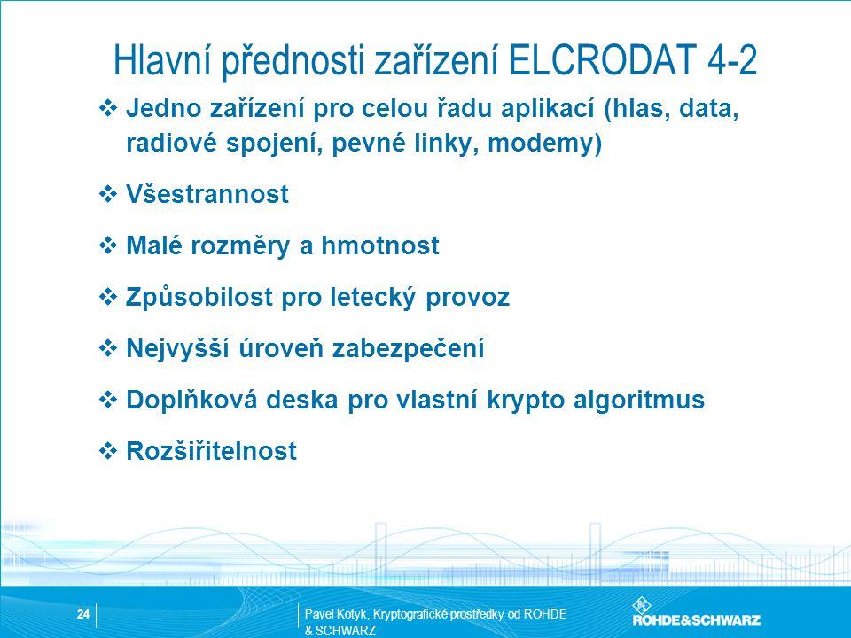 Pavel Kotyk, Kryptografické prostředky od ROHDE & SCHWARZ 24 Hlavní přednosti zařízení ELCRODAT 4-2  Jedno zařízení pro celou řadu aplikací (hlas, da