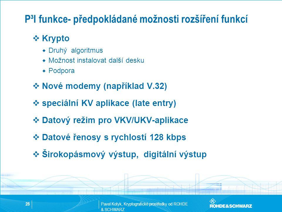 Pavel Kotyk, Kryptografické prostředky od ROHDE & SCHWARZ 25 P³I funkce- předpokládané možnosti rozšíření funkcí  Krypto  Druhý algoritmus  Možnost