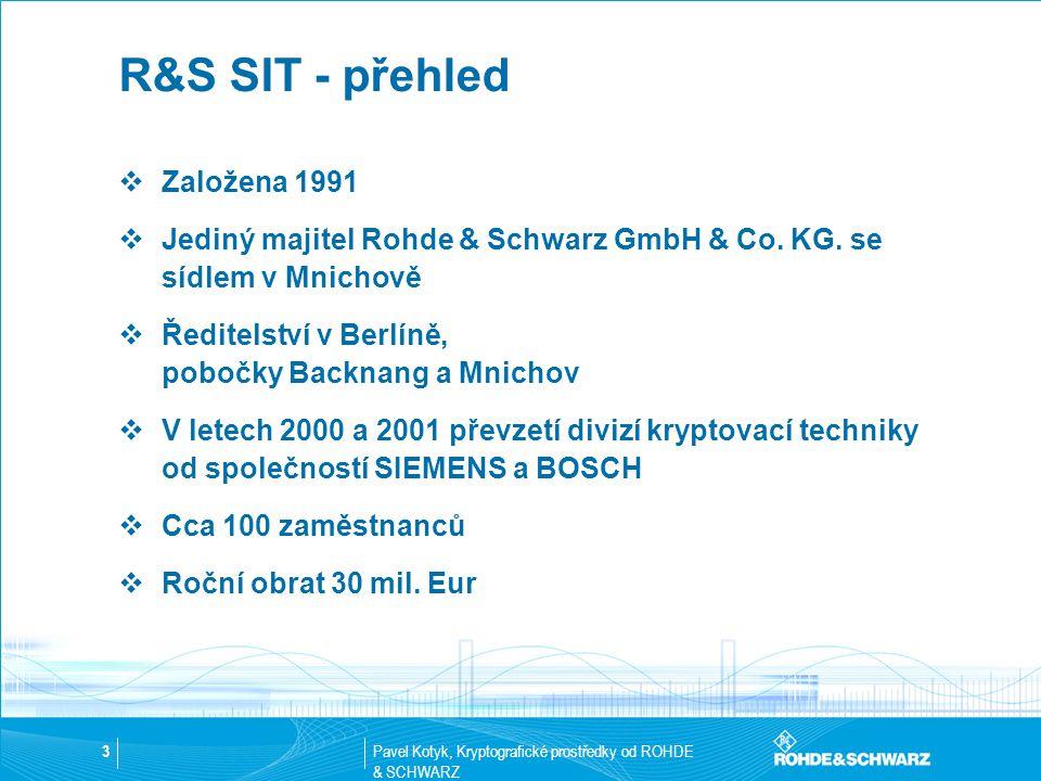 Pavel Kotyk, Kryptografické prostředky od ROHDE & SCHWARZ 3 R&S SIT - přehled  Založena 1991  Jediný majitel Rohde & Schwarz GmbH & Co. KG. se sídle