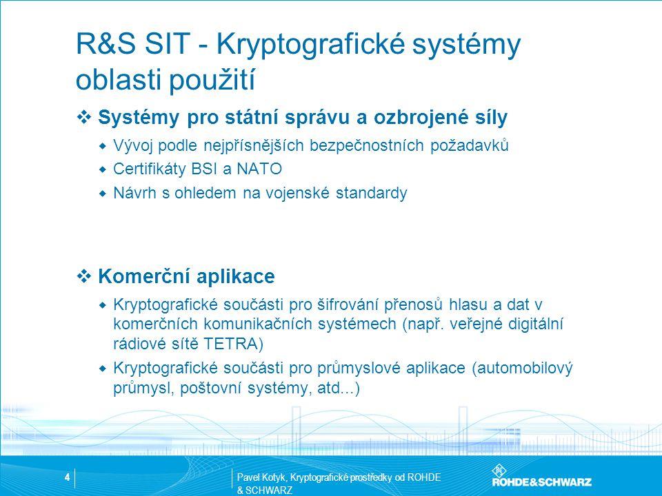 Pavel Kotyk, Kryptografické prostředky od ROHDE & SCHWARZ 4 R&S SIT - Kryptografické systémy oblasti použití  Systémy pro státní správu a ozbrojené s