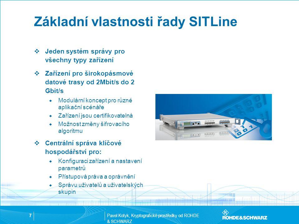 Pavel Kotyk, Kryptografické prostředky od ROHDE & SCHWARZ 7 Základní vlastnosti řady SITLine  Jeden systém správy pro všechny typy zařízení  Zařízen