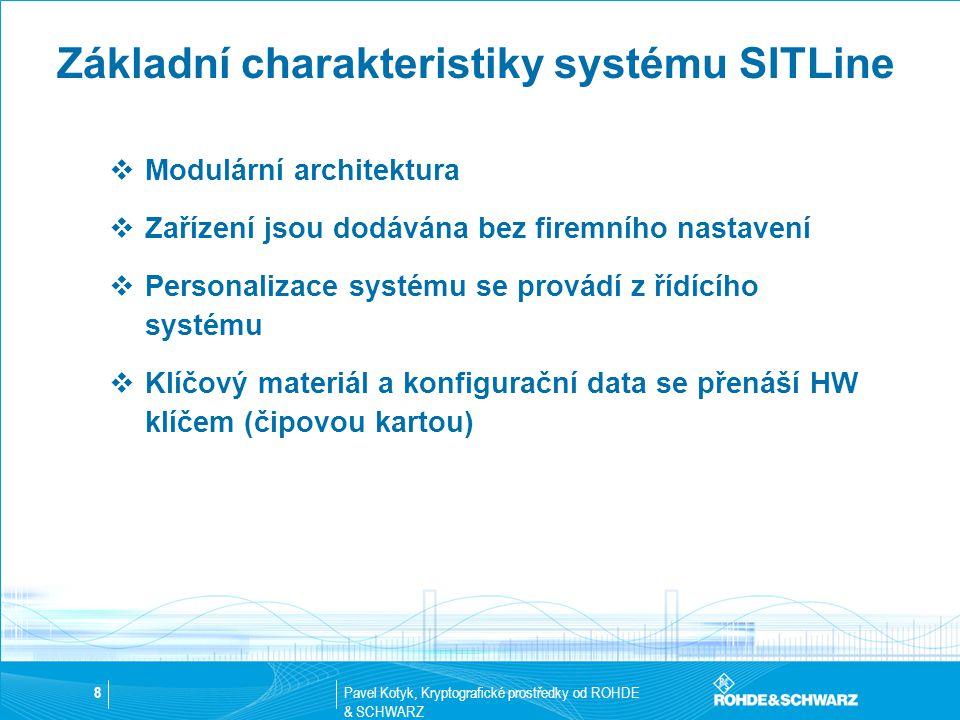 Pavel Kotyk, Kryptografické prostředky od ROHDE & SCHWARZ 9 Základní charakteristiky systému SITLine  Přístup pro správu sítě je šifrovaný  Systém eliptických křivek s délkou minimálně 191bit  Systém eliptických křivek je použit i pro identifikaci, certifikaci a elektronický podpis  Užitečná data jsou šifrována symetrickým algoritmem  Triple DES (112bit + 16 parity=128bit)  AES (128 bit and 256bit)  Případně vlastní zákaznický algoritmus