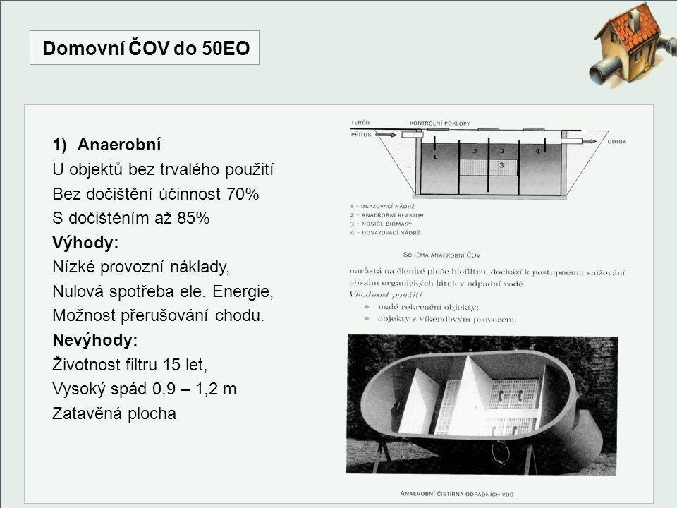 Domovní ČOV do 50EO 2) Aerobní U objektů trvalého použití, Dosahuje účinnosti 80 – 90%, Rychlost procesů závisí na t.