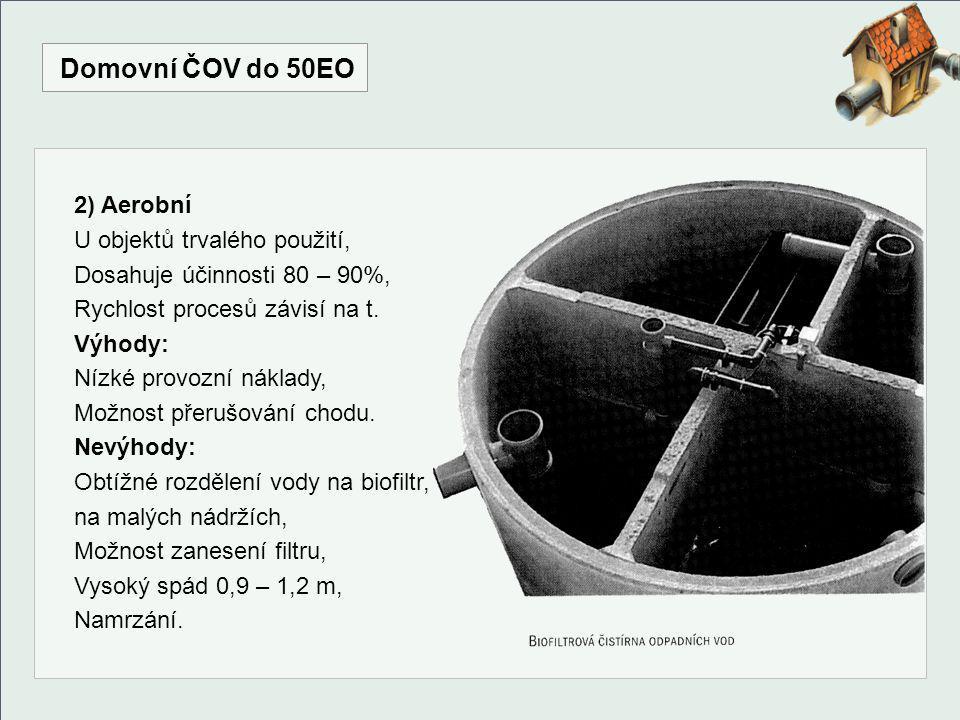 Domovní ČOV do 50EO 2) Aerobní U objektů trvalého použití, Dosahuje účinnosti 80 – 90%, Rychlost procesů závisí na t. Výhody: Nízké provozní náklady,