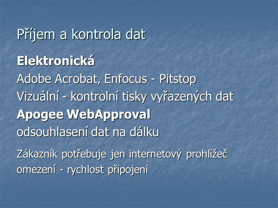 Příjem a kontrola dat Elektronická Adobe Acrobat, Enfocus - Pitstop Vizuální - kontrolní tisky vyřazených dat Apogee WebApproval odsouhlasení dat na d