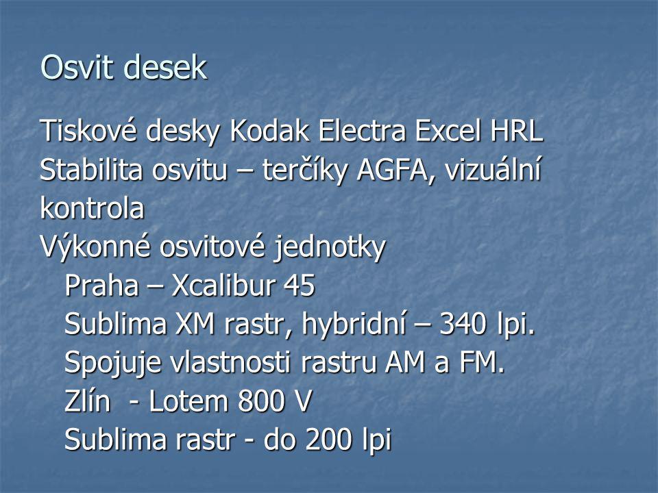 Osvit desek Tiskové desky Kodak Electra Excel HRL Stabilita osvitu – terčíky AGFA, vizuální kontrola Výkonné osvitové jednotky Praha – Xcalibur 45 Sub