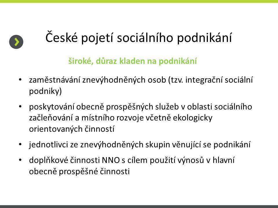 České pojetí sociálního podnikání široké, důraz kladen na podnikání zaměstnávání znevýhodněných osob (tzv.