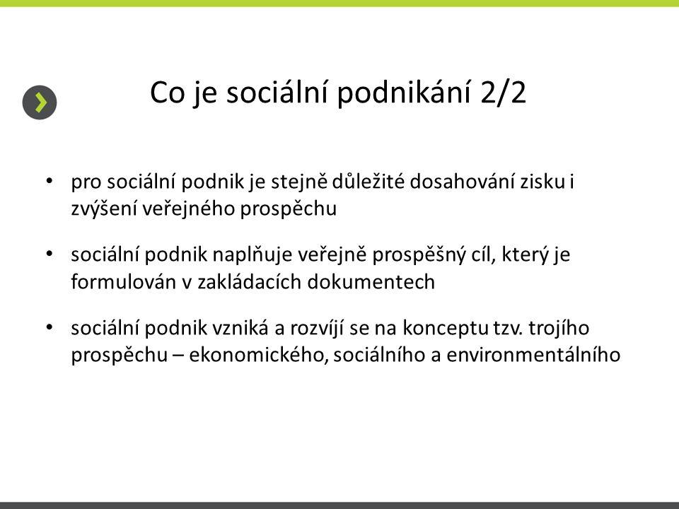 Co je sociální podnikání 2/2 pro sociální podnik je stejně důležité dosahování zisku i zvýšení veřejného prospěchu sociální podnik naplňuje veřejně prospěšný cíl, který je formulován v zakládacích dokumentech sociální podnik vzniká a rozvíjí se na konceptu tzv.