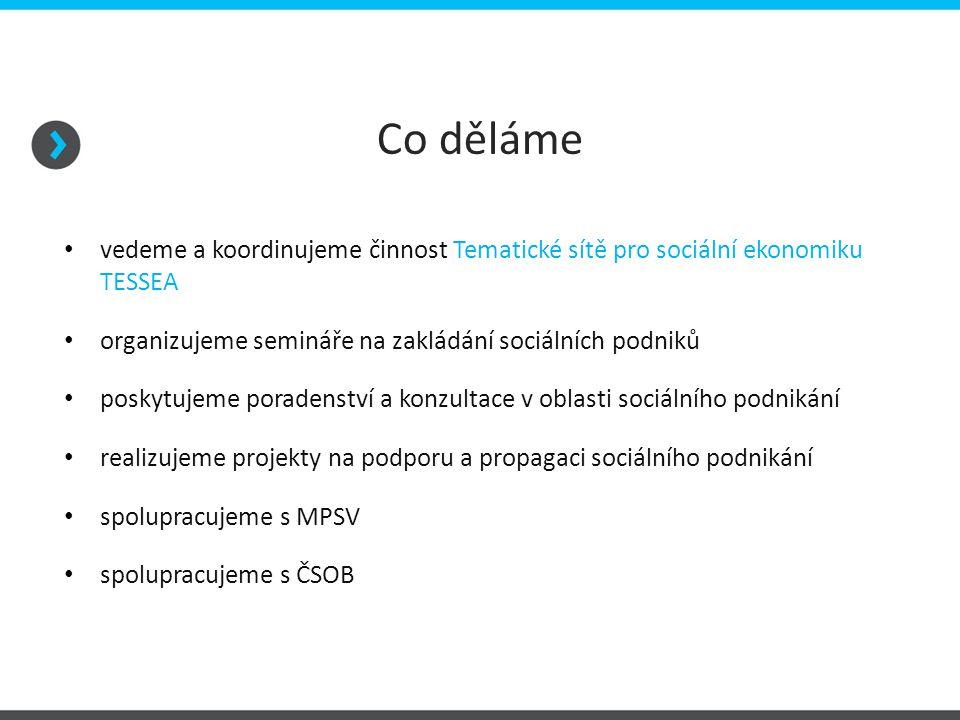 Co děláme vedeme a koordinujeme činnost Tematické sítě pro sociální ekonomiku TESSEA organizujeme semináře na zakládání sociálních podniků poskytujeme poradenství a konzultace v oblasti sociálního podnikání realizujeme projekty na podporu a propagaci sociálního podnikání spolupracujeme s MPSV spolupracujeme s ČSOB