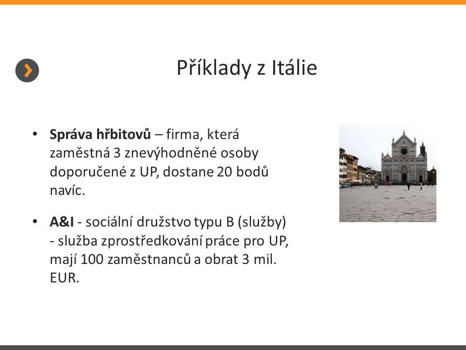 Příklady z Itálie Správa hřbitovů – firma, která zaměstná 3 znevýhodněné osoby doporučené z UP, dostane 20 bodů navíc.