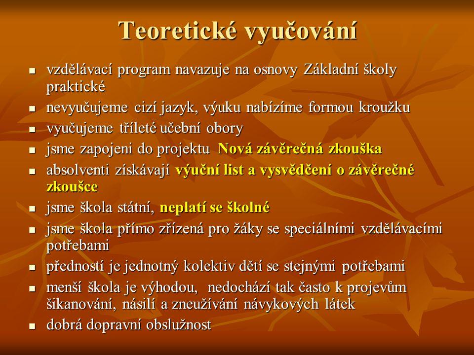 Teoretické vyučování vzdělávací program navazuje na osnovy Základní školy praktické vzdělávací program navazuje na osnovy Základní školy praktické nev