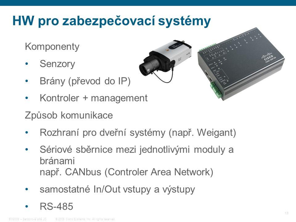 13 © 2009 Cisco Systems, Inc. All rights reserved. EO2009 – Senzorové sítě JC HW pro zabezpečovací systémy Komponenty Senzory Brány (převod do IP) Kon