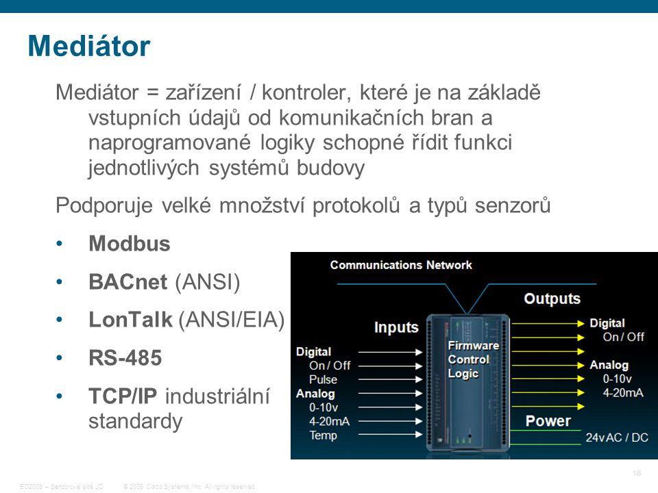 18 © 2009 Cisco Systems, Inc. All rights reserved. EO2009 – Senzorové sítě JC Mediátor Mediátor = zařízení / kontroler, které je na základě vstupních
